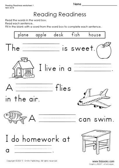 Printable First Grade Reading Worksheets Reading Readiness Worksheet 1