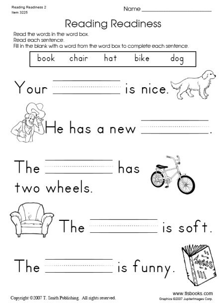 Printable First Grade Reading Worksheets Reading Readiness Worksheet 2