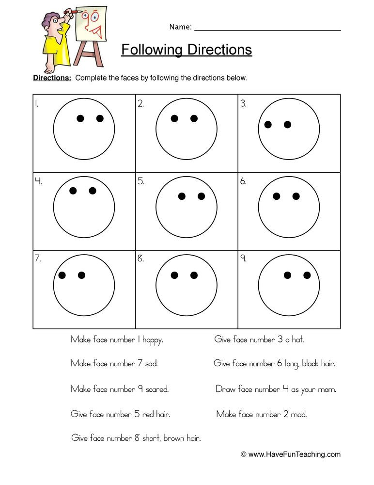 Printable Following Directions Worksheet Smilies Follow Directions Worksheet with Images