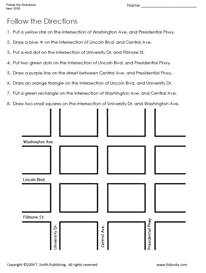 Printable Following Directions Worksheets Follow the Directions Map Grid Worksheet 1
