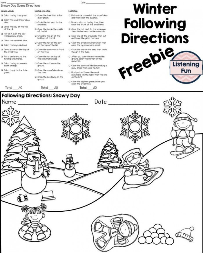 Printable Following Directions Worksheets Following Directions Coloring Worksheets