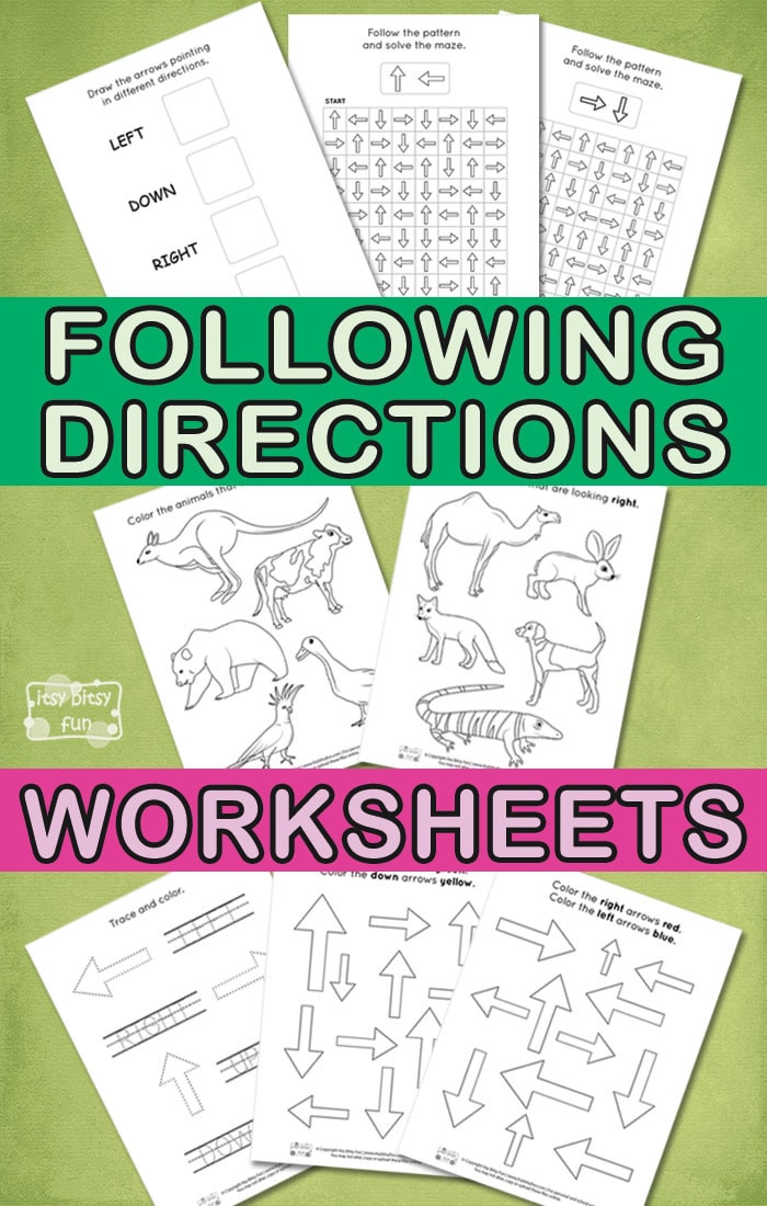 Printable Following Directions Worksheets Following Directions Worksheets for Kids Itsybitsyfun