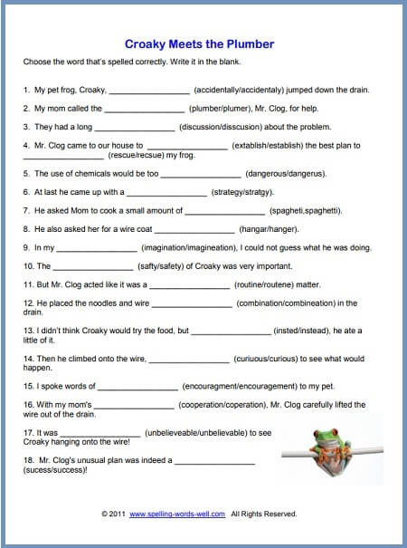 Printable Life Skills Worksheets Free Printable Spelling Worksheets Grade English Croaky for