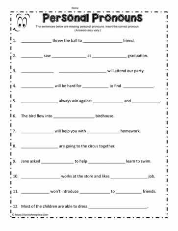 Printable Pronouns Worksheets Personal Pronouns Worksheets
