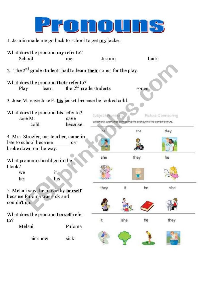 Printable Pronouns Worksheets Pronouns Worksheet Y6 Printable Worksheets and Activities