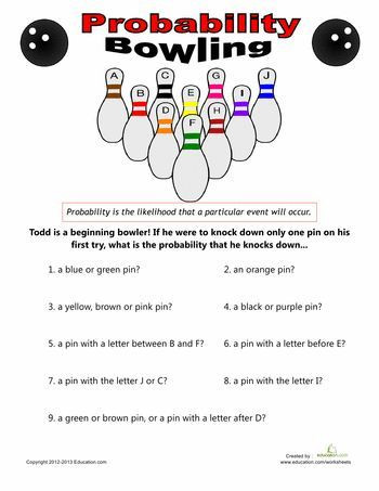 Probability Worksheet 4th Grade Bowling Probability