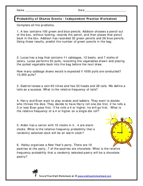 Probability Worksheet 6th Grade before and after events Math Worksheets Worksheet Adding and
