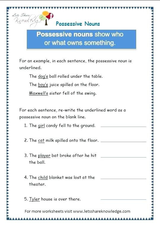 Pronoun Worksheets 5th Grade Nouns and Pronouns Worksheets Personal and Possessive