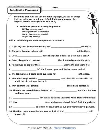 Pronoun Worksheets 6th Grade Indefinite Pronouns