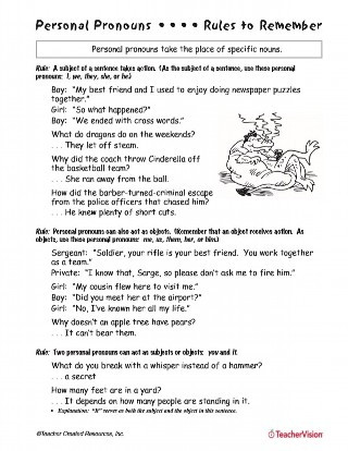 Pronoun Worksheets 6th Grade Personal Pronouns Printable 4th 6th Grade Teachervision