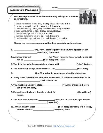 Pronoun Worksheets 6th Grade Possessive Pronouns