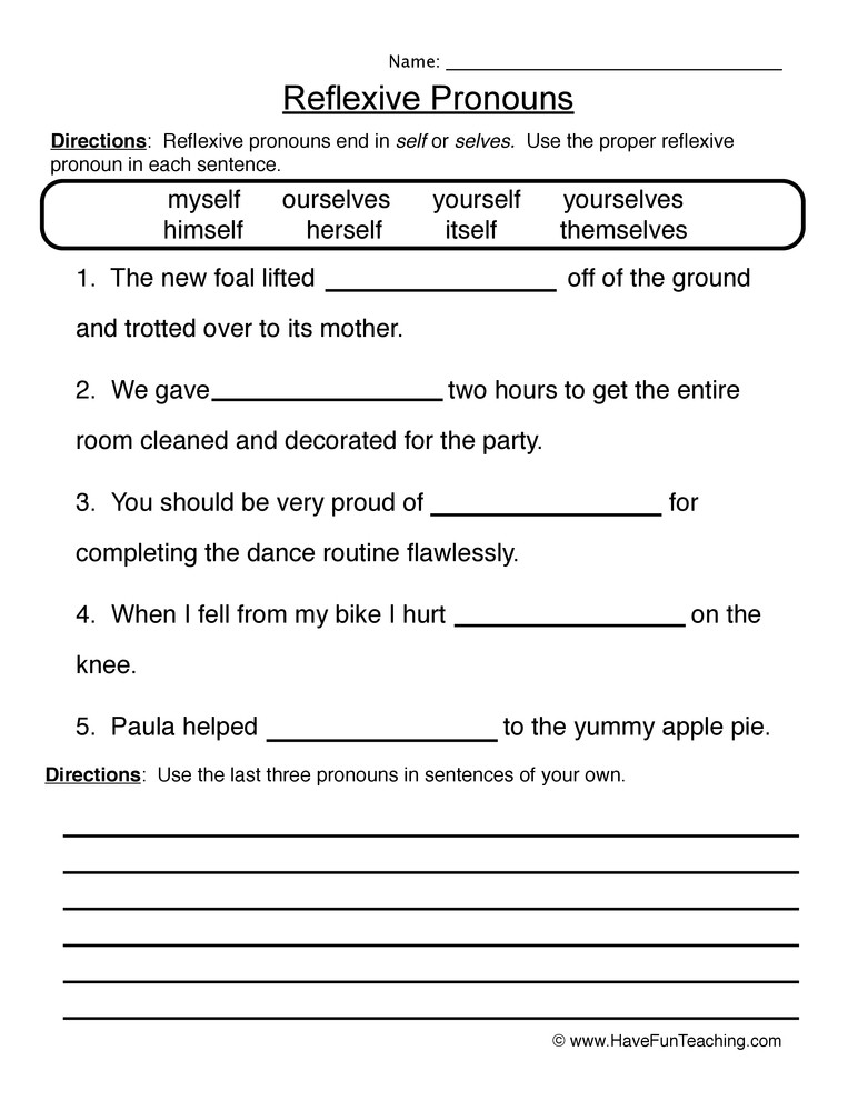 Pronoun Worksheets 6th Grade Reflexive Pronouns Worksheet