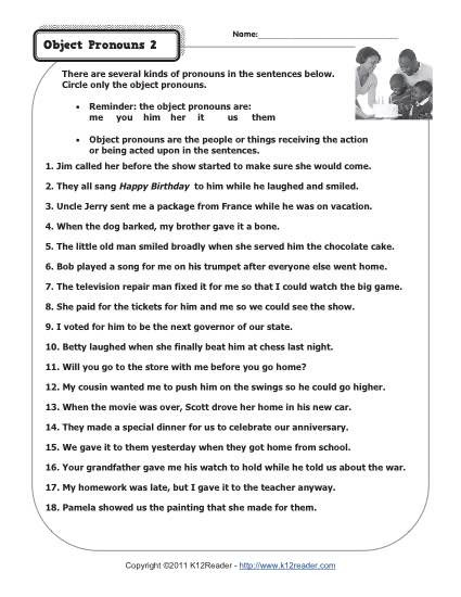 Pronoun Worksheets for 2nd Graders Object Pronouns 2