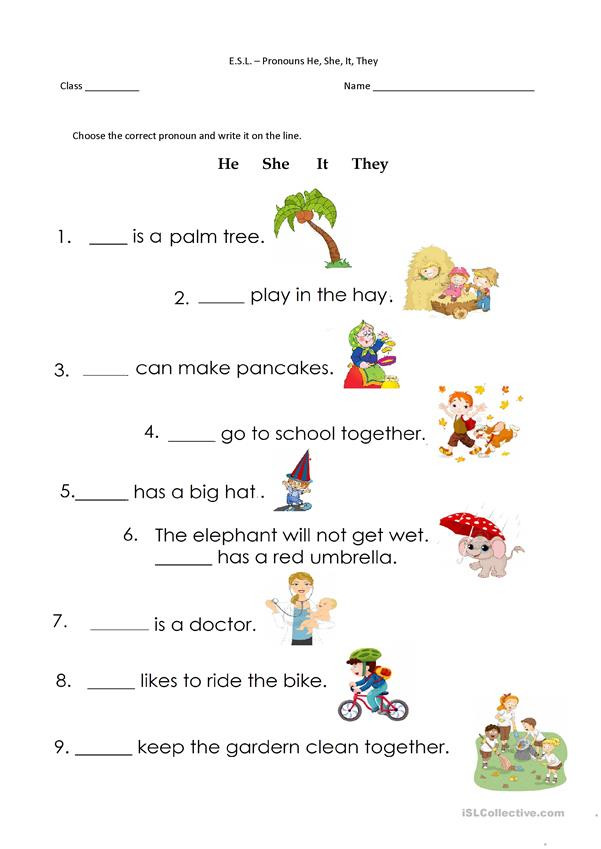 Pronoun Worksheets for Kindergarten Free Pronouns He She It they English Esl Worksheets for