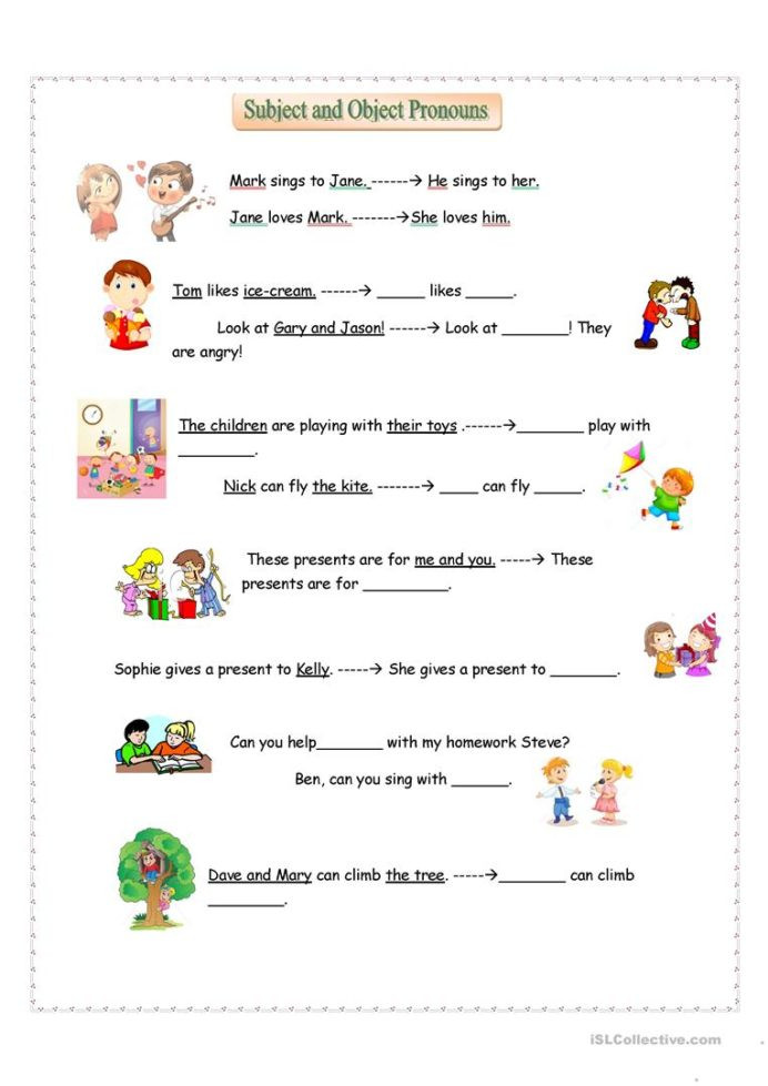 Pronoun Worksheets for Kindergarten Free Subject and Object Pronouns English Esl Worksheets for