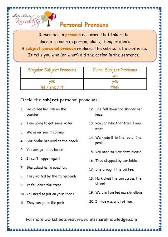 Pronouns Worksheets 5th Grade Grade Grammar topic Personal Pronouns Worksheets with