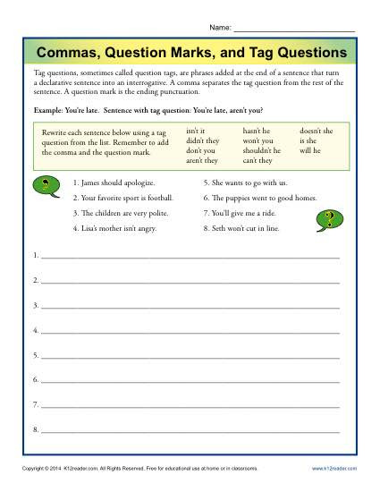 Punctuation Worksheets 5th Grade Mas Question Marks and Tag Questions