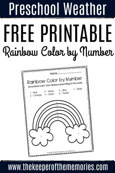 Rainbow Worksheets for Kindergarten Free Printable Color by Number Rainbow Preschool Worksheet