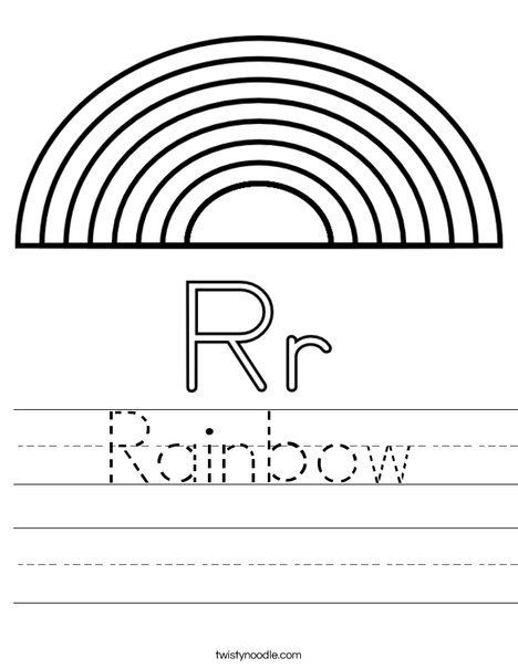 Rainbow Worksheets for Kindergarten R is for Rainbow Worksheet