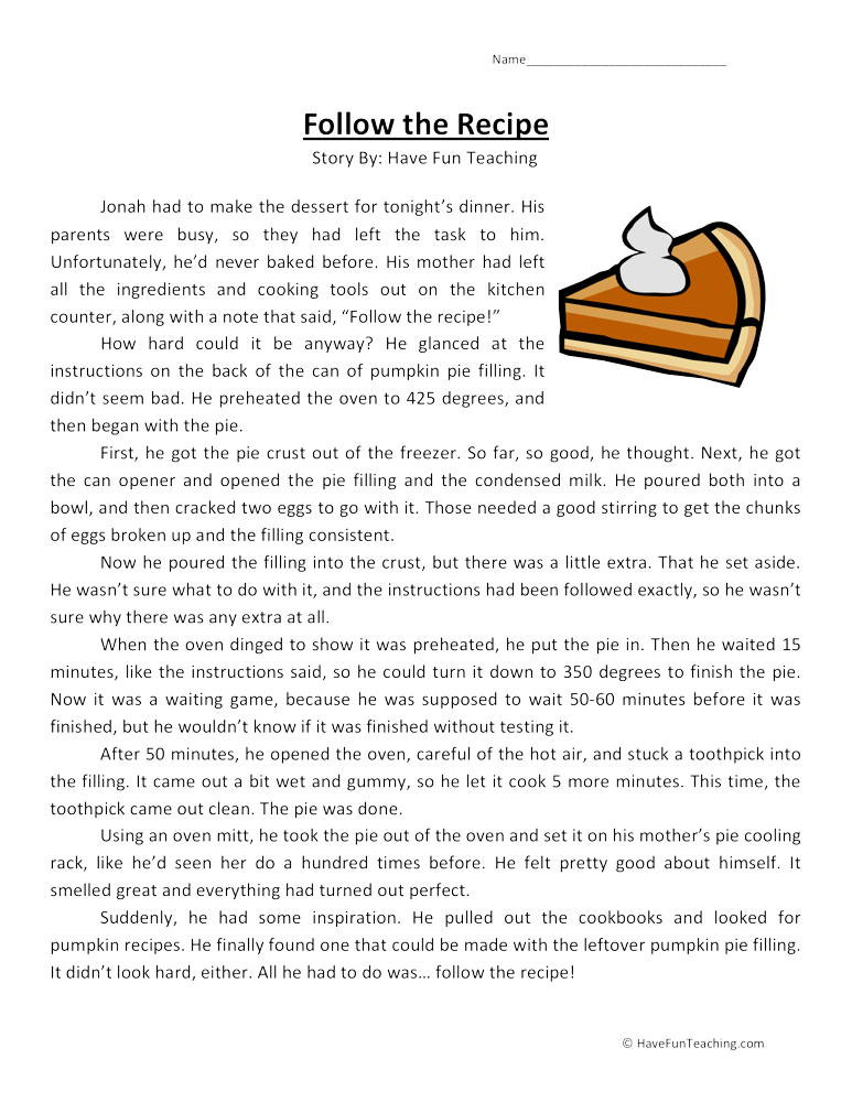 Reading Comprehension 7th Grade Worksheet Follow the Recipe Reading Prehension Worksheet • Have Fun