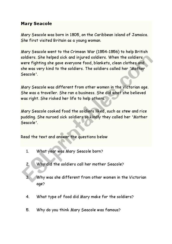 Reading Comprehension 7th Grade Worksheet Mary Seacole Reading Prehension Esl Worksheet by Kad39
