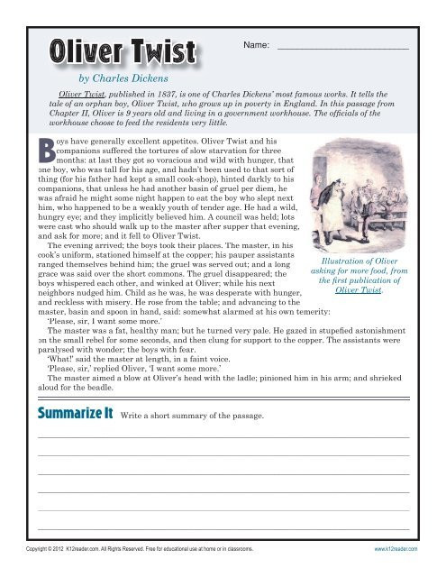 Reading Comprehension 7th Grade Worksheet Oliver Twist