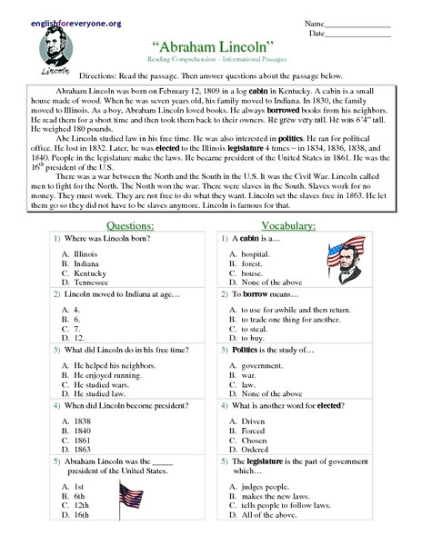 "Reading Comprehension 7th Grade Worksheet Reading Prehension Informational Passages ""abraham"