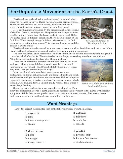 Reading Comprehension Worksheets 7th Grade Earthquakes