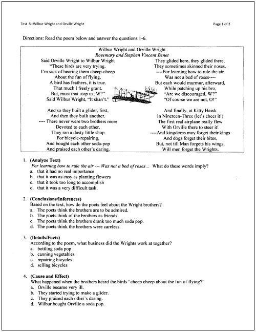 Reading Worksheets Grade 5 10 Free Reading Tests for Students In Grades 5 Through 9