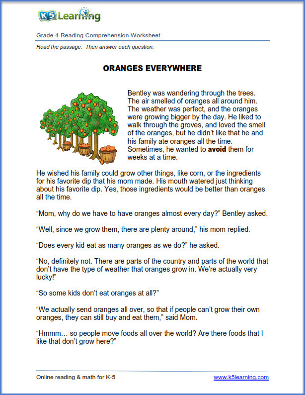 Reading Worksheets Grade 5 New Reading Prehension Worksheets for Grades 4 and 5