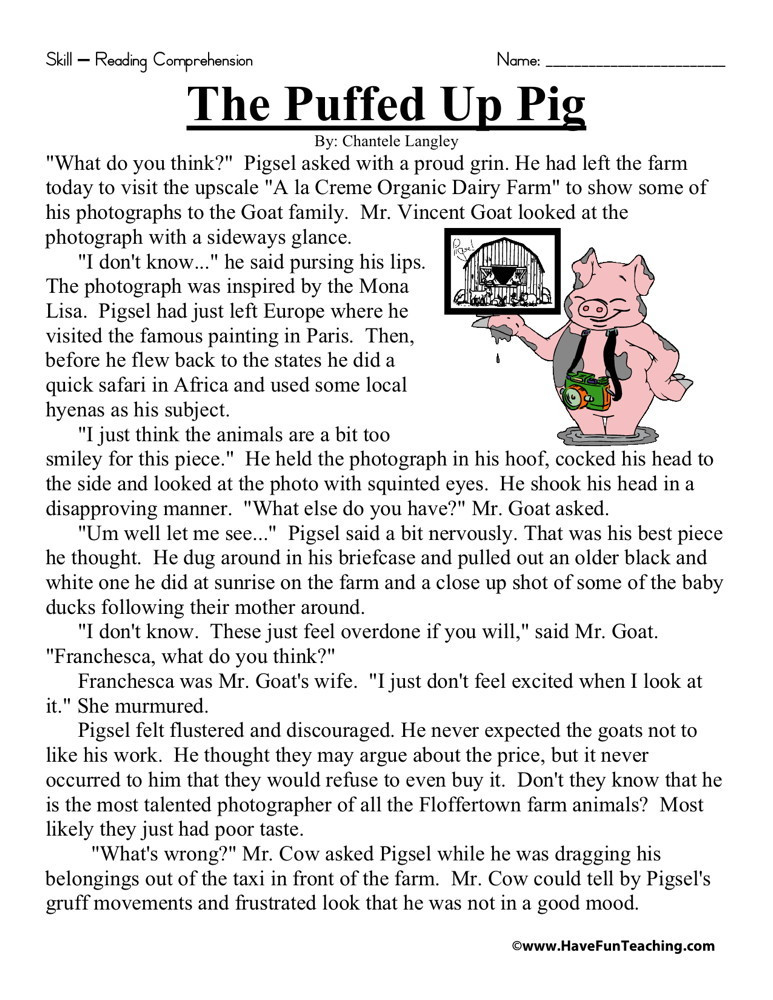 Reading Worksheets Grade 5 Reading Prehension Worksheet the Puffed Up Pig