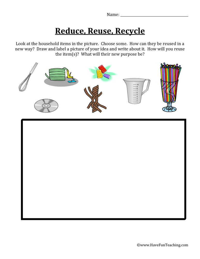 Recycling Worksheets for Kindergarten Reduce Reuse Recycle Items Worksheet