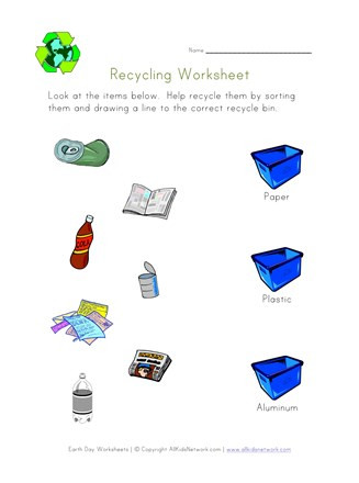Recycling Worksheets for Kindergarten sort and Recycle Worksheet