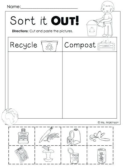 Recycling Worksheets for Kindergarten sorting by attributes Kindergarten Worksheets – whogonefight