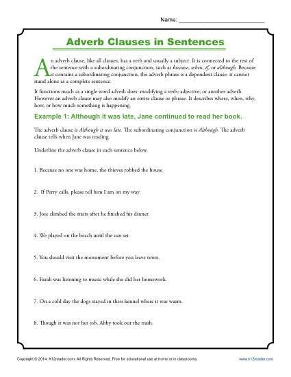 Relative Adverbs Worksheet 4th Grade Adverb Clauses In Sentences