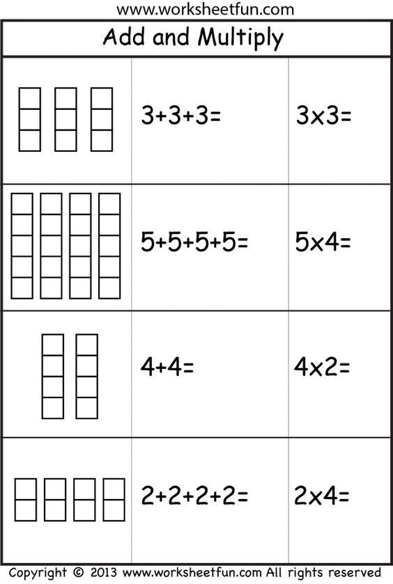 Repeated Addition Worksheets 2nd Grade Add and Multiply Repeated Addition 2 Worksheets