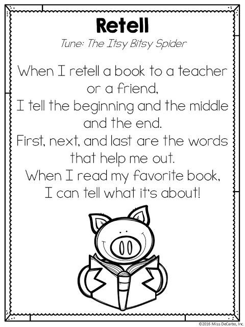 Retell Worksheet First Grade Free Retelling song Printable Poem by Miss Decarbo