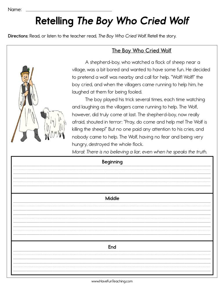 Retell Worksheet First Grade Retelling the Boy who Cried Wolf Worksheet