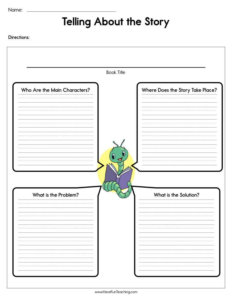 Retell Worksheet First Grade Telling About the Story Worksheet