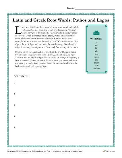 Root Words Worksheet 5th Grade Greek and Latin Root Words Worksheets