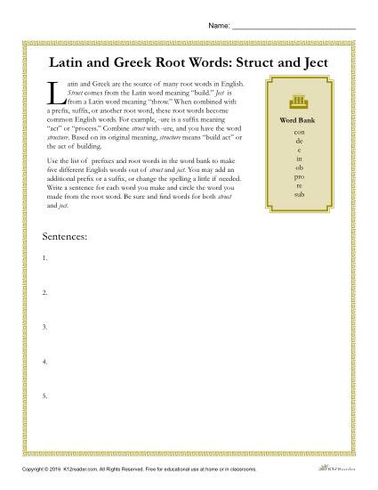 Root Words Worksheets 4th Grade Greek and Latin Root Words Worksheets