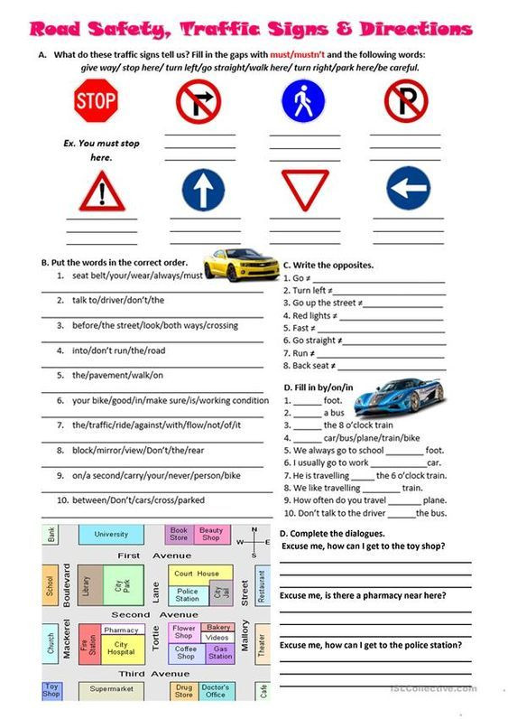 Safety Signs Worksheets for Kindergarten Road Safety Traffic Signs and Directions