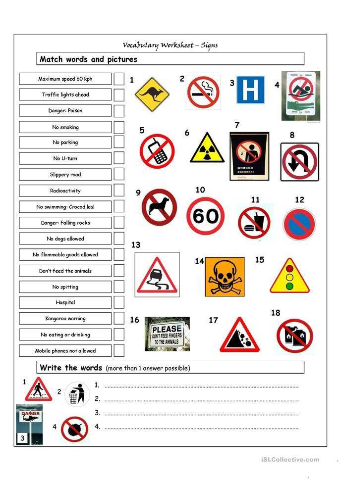 Safety Signs Worksheets for Kindergarten Vocabulary Matching Worksheet Signs
