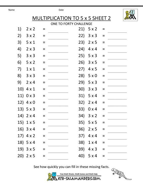 Salamander Math Worksheet Multiplication to 5x5 Worksheets for 2nd Grade