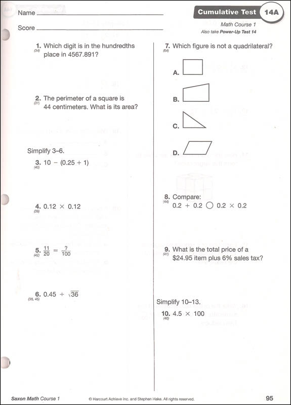 Saxon Math Worksheets 5th Grade Saxon Math Course 1 assessments