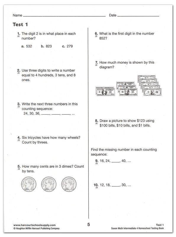 Saxon Math Worksheets 5th Grade Saxon Math Intermediate 4 Homeschool Test Bk