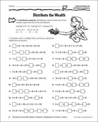 Scholastic Math Worksheets Distribute the Wealth Understanding the Distributive