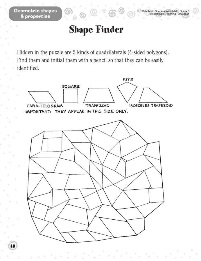 Scholastic Math Worksheets Shapes Worksheets 1st Grade Printable and Activities Spatial