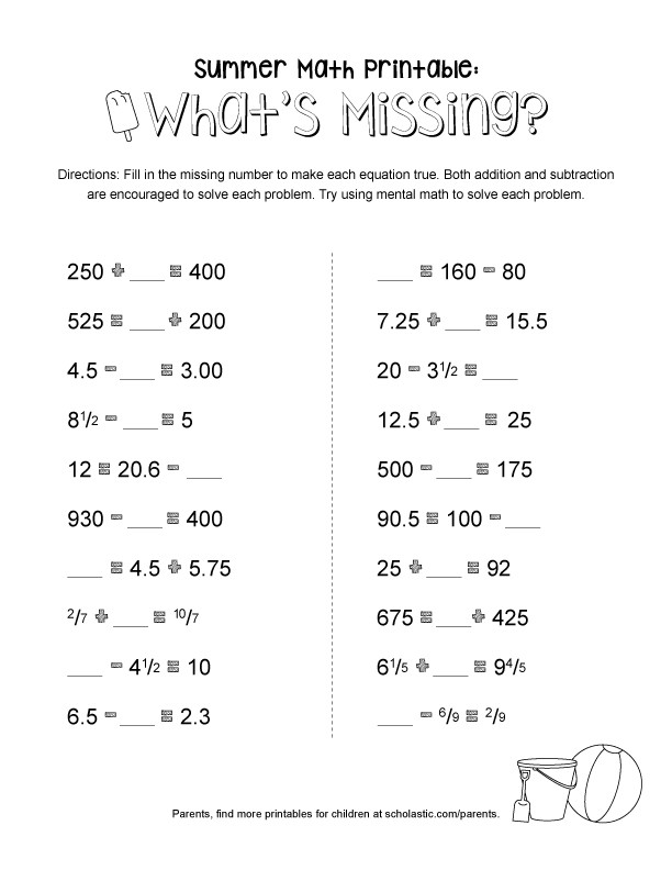 Scholastic Math Worksheets Summer Math Printable What S Missing