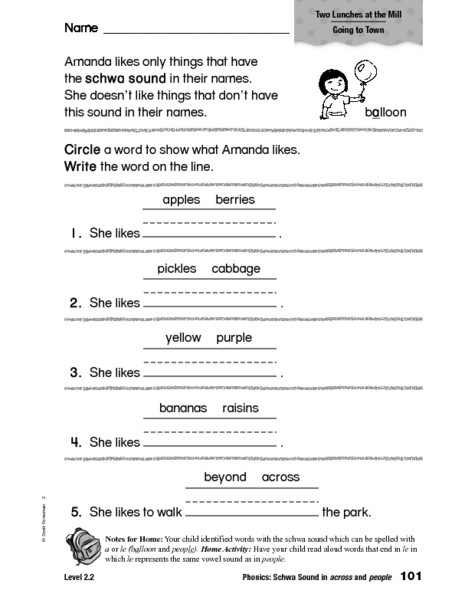 Schwa sound Worksheets Grade 2 Phonics Schwa sound In Across and People Worksheet for 1st